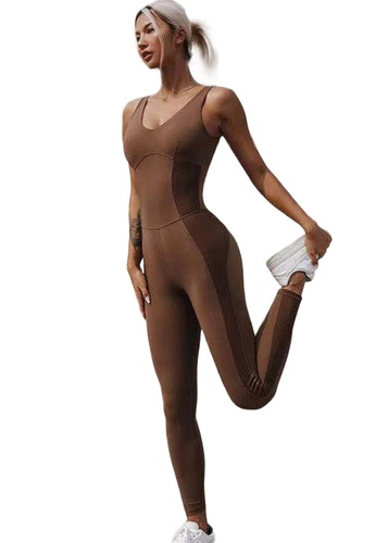 Sunnydaysweety brown Sleeveless Airflow Stretch Cross Back Yoga Fitness Jumpsuit A21031709BW 773C1AAB53971DGS_1