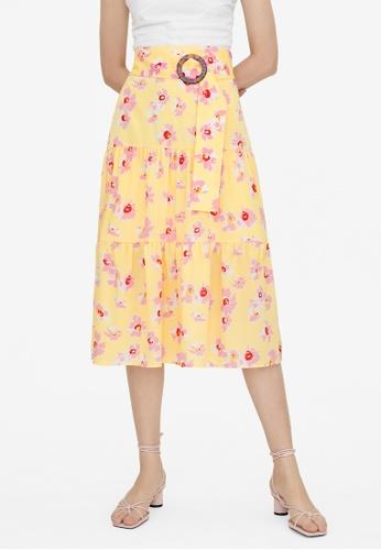 Pomelo yellow Midi Floral Tiered Skirt - Yellow C23BFAA42067BFGS_1