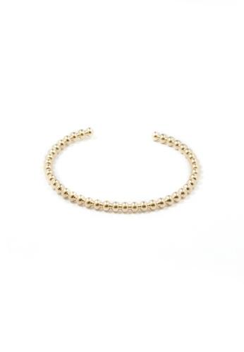 SKEDA gold Beaded Open Metal Cuff Bangle DEDA8AC15858ABGS_1