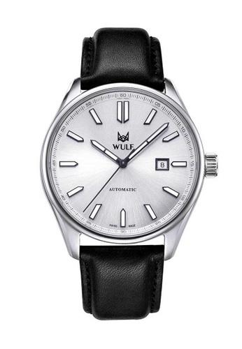 Wulf black Wulf Alpha Silver and Black Leather Watch 9599EAC60DDA53GS_1