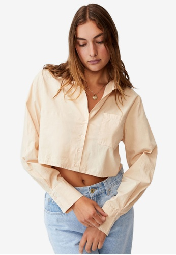 Cotton On beige Cropped Long Sleeve Shirt 551D9AA5026405GS_1