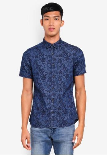 Burton Menswear London 海軍藍色 短袖印花牛仔襯衫 05CB9AA4A953B9GS_1