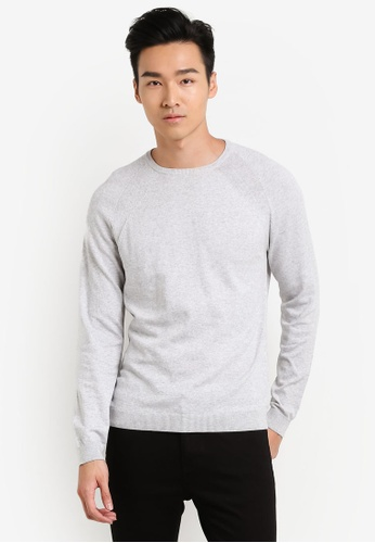 Burton Menswear London grey Silver Crew Neck Jumper BU964AA31JTSMY_1