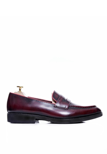 Zeve Shoes red Zeve Shoes Penny Loafer - Red Polished Leather With Black EVA Sole 4B1E3SHDAAFA85GS_1