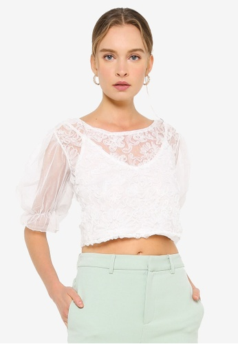 URBAN REVIVO white Lace Top 0BF8AAAFF9B46AGS_1