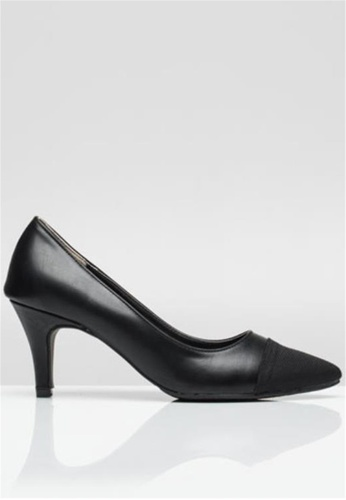 Crystal Korea Fashion 黑色 韓國制舒適皮革高跟鞋 06F16SH4F76203GS_1