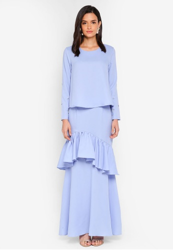 Lubna blue Slim Sleeves Top with Tiered Skirt 663CDAA8D91BF5GS_1