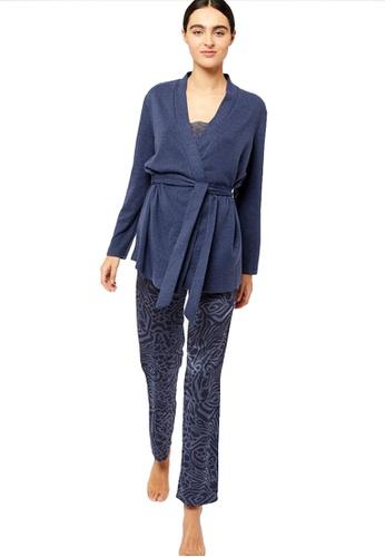 Etam blue Ilsy Satin Zebra Pajama Set 89A99AA1DFF439GS_1