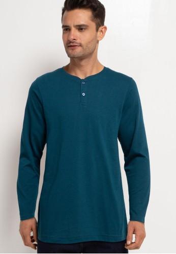 Tolliver green Long Sleeve Henley T-Shirt 9FB42AAB9C38A5GS_1