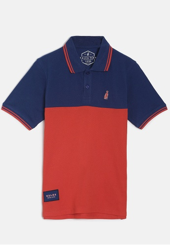 ZALZA red and navy Roblex 100% Organic Cotton Boys Polo Tee - Navy/Red 82AA9KA7B6AFE1GS_1