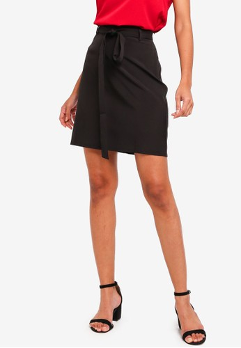 ZALORA BASICS black Basic Tie Front Mini Skirt 430D0AA1585440GS_1