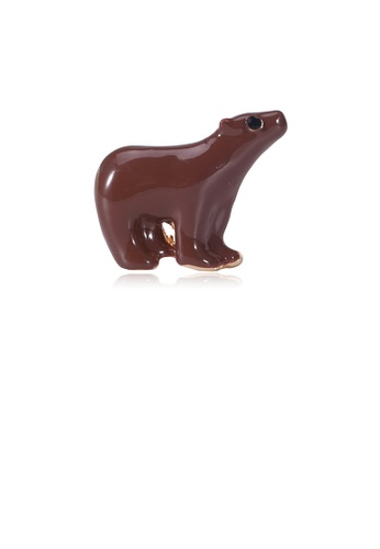 Glamorousky black Simple and Cute Brown Polar Bear Brooch with Cubic Zirconia 9CC9AAC0EB5F36GS_1