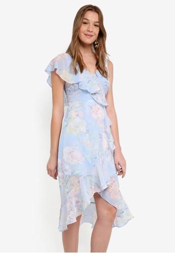 Dorothy Perkins blue Petite Blue Asymmetric Midi Dress 871DBAA1264C73GS_1