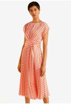 e5a2bd7d368 Mango pink Pleated Midi Dress D0530AAF611863GS 1