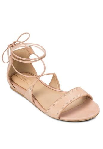 Brena 繞踝繫帶低楔形涼鞋, 女鞋, 清新俏esprit分店皮