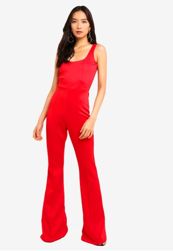 27525e0216 MISSGUIDED red Square Neck Pintuck Flare Leg Jumpsuit E85C9AA278266DGS 1