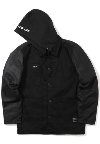 Fivecm black Panelled hooded jacket 14804AAA18B68FGS_1