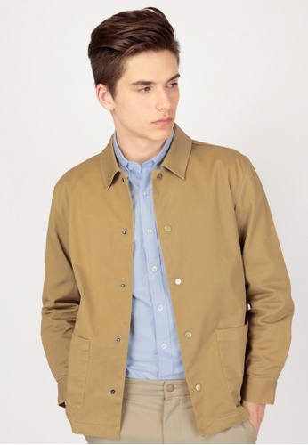 A for Arcade brown Marshall Twill Shirt Jacket in Khaki AF376AA0G6RBSG_1
