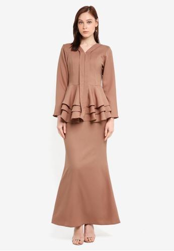 Aqeela Muslimah Wear brown Qhalisha Peplum Tiered Kebaya 90179AACDF0B76GS_1