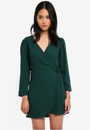 TOPSHOP green Petite Crepe Wrap Mini Dress BABDAAA219D984GS_1