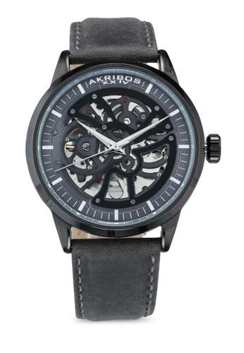 Akribos XXIV grey Automatic Leather Watch 95ED9ACFE53542GS_1