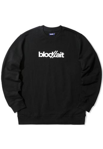 BLOCKAIT black Logo print sweatshirt ECFC7AA4194668GS_1