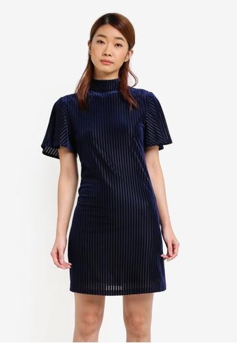 ZALORA navy Velvet Sheath Dress 05B58AAA980555GS_1