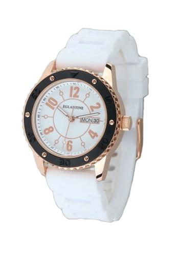 EGLANTINE gold EGLANTINE® Vanessa Ladies Pink Gold Plated Steel Quartz Watch Black Rubber Bezel on Black Rubber Strap FE800AC94FE3E9GS_1