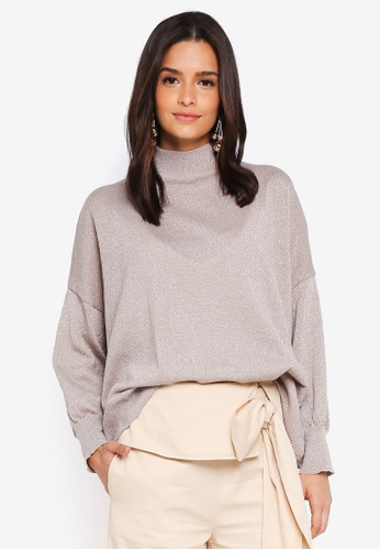 Zalia beige Metallic Knitted Sweater 9A5BBAAFDAC9A3GS_1