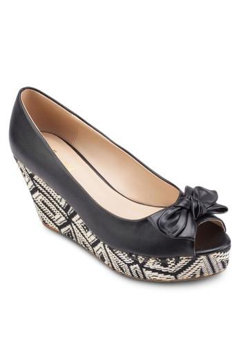 蝴蝶結露趾印花楔型鞋, 女鞋, esprit專櫃魚口楔形鞋