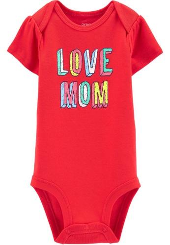 Carter's red CARTER'S Girl Love Mom Slogan Short Sleeve Bodysuit 738BBKA8185134GS_1