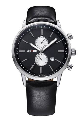 Weide black and silver WH3302 Military Leather Watch (Silver Black) WE079AC87KXSMY_1
