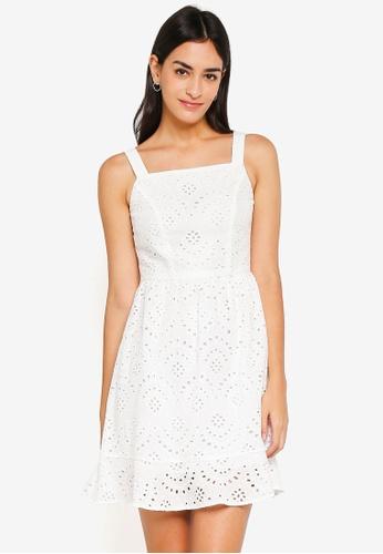ZALORA white Flare Hem Dress 891B8AA4BB6E61GS_1