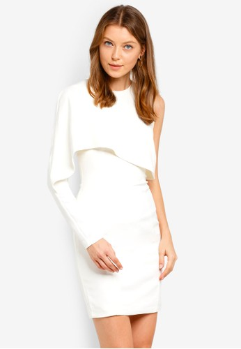 Lavish Alice white Woven Asymmetric Drape Panelled Mini Dress 05BB0AA5479B6BGS_1