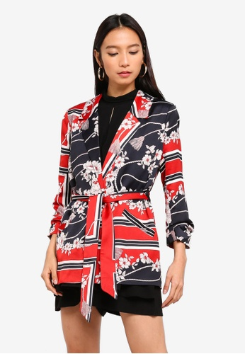 River Island red and multi Ellie Belted Blazer F2775AA3D2BAADGS_1