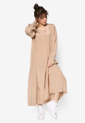 韓系時尚A 字寬版長袖連身長裙zalora 衣服評價, 服飾, 洋裝