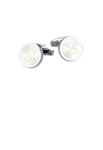 Glamorousky 銀色 時尚簡約英文字母S圓形袖扣 5E4FFACC33858CGS_1