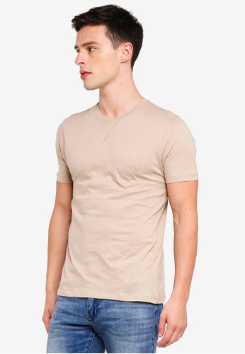 Brave Soul 褐色 胸前口袋圓領T恤 35A85AA66F1C06GS_1