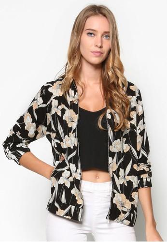 單色花卉棒球外套,zalora 折扣碼 服飾, 棒球外套