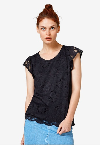 ESPRIT 黑色 Lace Frill Sleeve Top 411D2AAB92DCF4GS_1