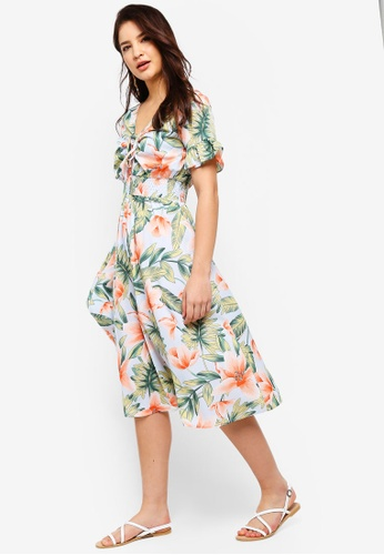 ZALORA multi Drawstring Maxi Dress 6DF03AA64182A6GS_1