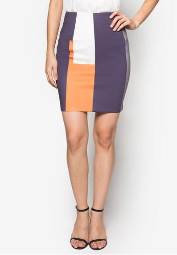 色塊拼zalora 內衣接鉛筆裙, 服飾, 迷你裙