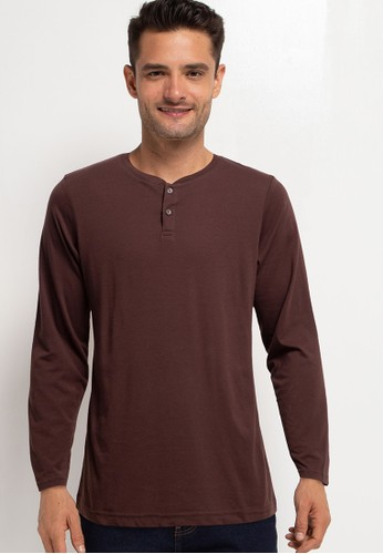 Tolliver brown Long Sleeve Henley T-Shirt CCD06AAB6D31CDGS_1