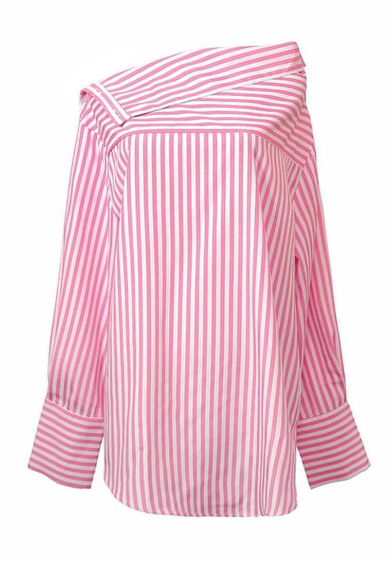 Shoulder Pink Striped Shirt Off Kodz 7YOqZx