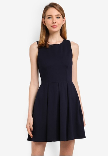 CLOSET navy V-Back Skater Dress 09236AA1DE83FAGS_1