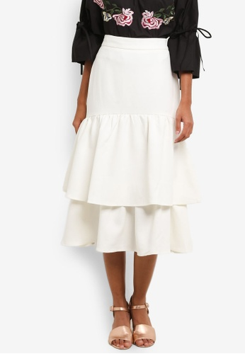 bYSI white Layered Midi Skirt BY867AA0RNOGMY_1