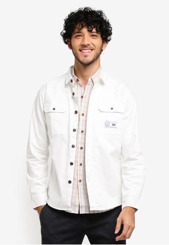 JAXON white Ripped Shirt Jacket With Patch Pockets CAC2CAA3E06EC4GS_1