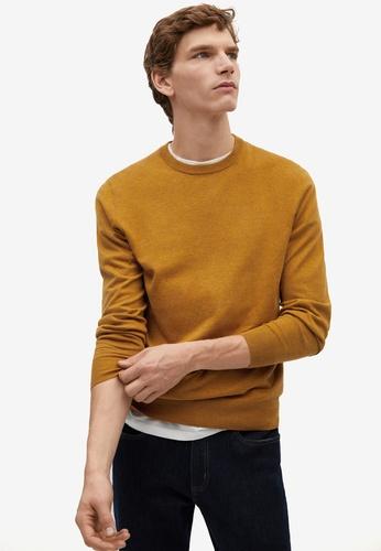 MANGO Man orange Cotton Cashmere-Blend Sweater 39947AA1918678GS_1