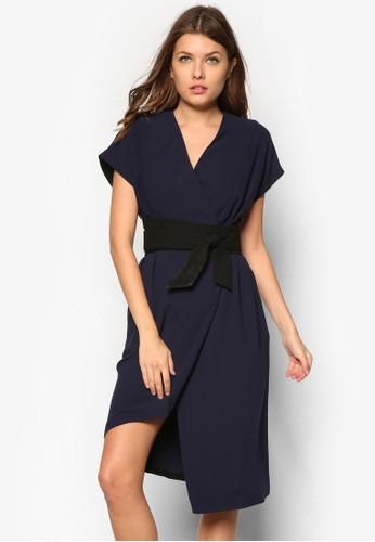 Sanfzalora 心得ord Obi 不對稱裹飾洋裝, 服飾, 服飾