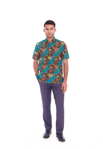 TUSCA green Eusoff Classic Batik Shirt 54022AA449DA2AGS_1